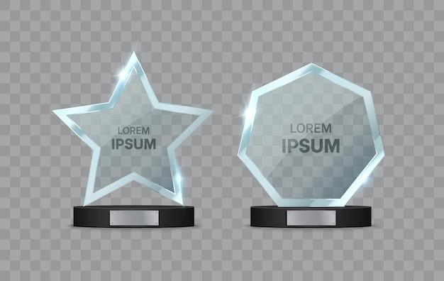 Glass trophy awards set on the pedestal