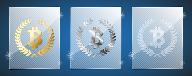 Glass trophy awards with bitcoin.  three variants: golden, silver and a simple shiny glass. bitcoin it's the winner
