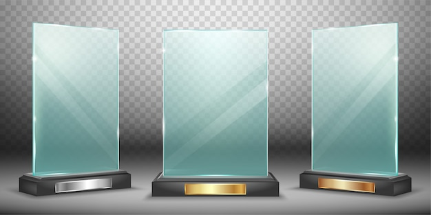 Glass trophy collection