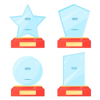 Glass trophy plaque awards