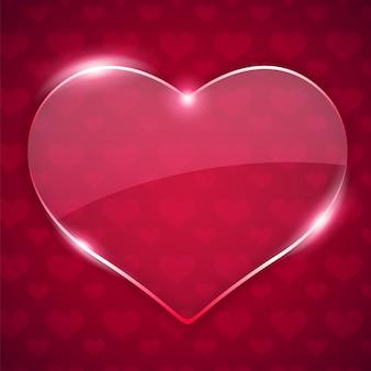 빨간색 배경에 유리 발렌타인 하트