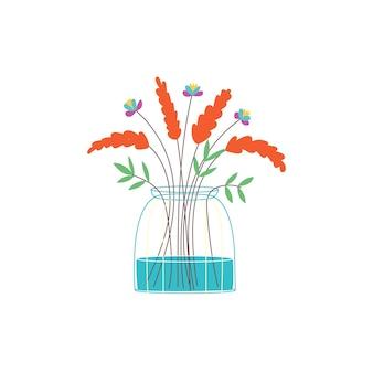 ガラスの花瓶オレンジ色の花