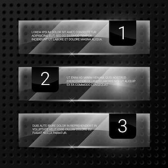 Set di banner di vetro vettoriale. cornice trasparente lucida, illustrazione di forma vuota