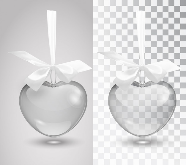 Стеклянный вектор романтические украшения с лентой на белом фоне.