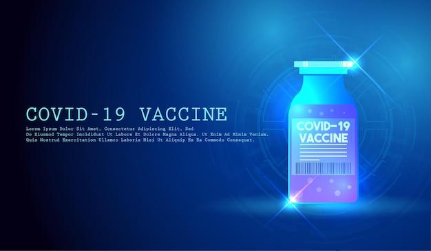 ウイルスに対するワクチンのガラスバイアルワクチン接種コロナウイルスcovid19 Premiumベクター