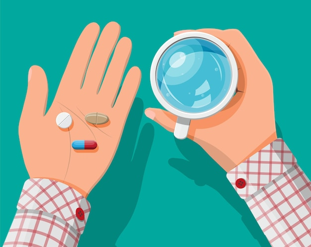 Glass of water in hand, pills, capsules for illness and pain treatment.