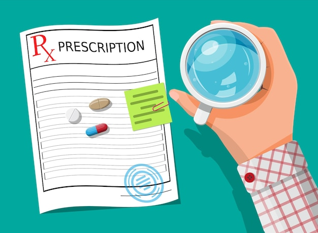 Glass of water in hand, prescription, pills, capsules for illness and pain treatment