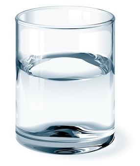 Glass of water isolated on white. one global color for glass and three colors for liquid. gradients used. no mesh.