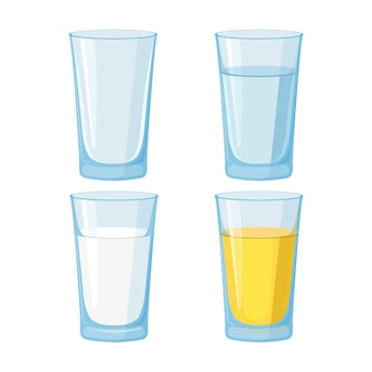 Glass of water, juice and milk and empty set.