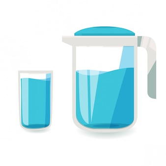 A glass of water and a  water jug