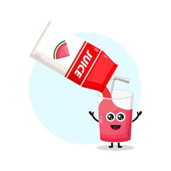 Glass watermelon juice box cute character logo