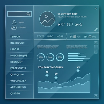Glass website elements templates vector set. element design button, internet chart and graph