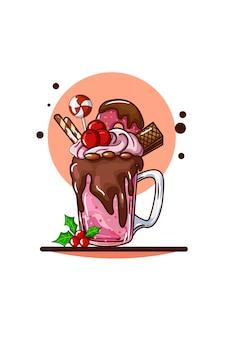 Стакан с шоколадным мороженым с рождественскими конфетами и листьями падуба