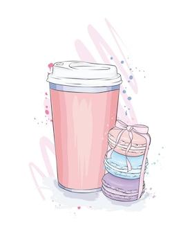 コーヒーとマカロンケーキとグラス