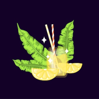 Glass with fresh lime drink. cartoon style. vector illustration.
