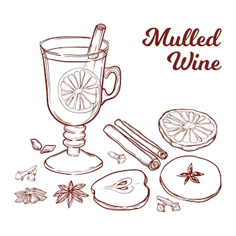 Glass with mulled wine orange apple and spices handdrawn vector illustration