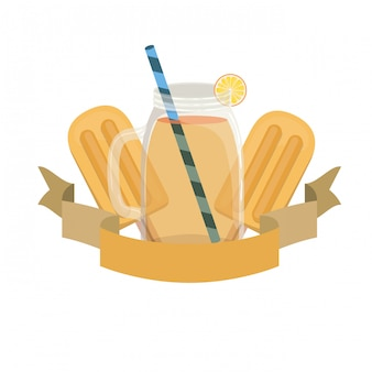 Glass with orange and straw drink