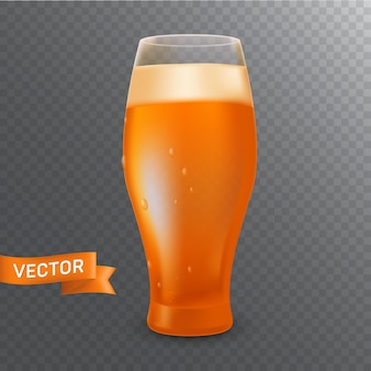 A glass with a pint of a cold light beer, foam, bubbles and drops.  realistic  illustration isolated on a transparent background