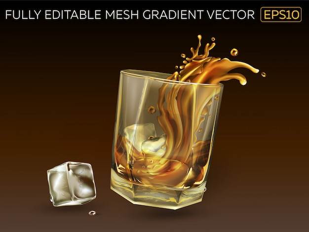 Glass with a splash of whiskey and ice cubes.