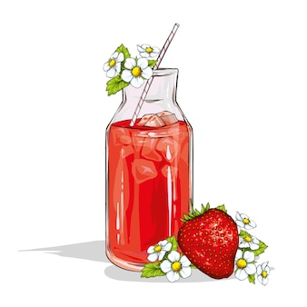白い背景で隔離のイチゴのスムージーとガラス。フルーツとベリー、夏、食べ物と飲み物。