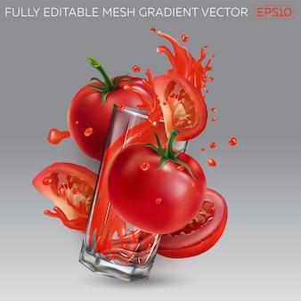 토마토 주스와 빨간 토마토와 유리입니다. 프리미엄 벡터
