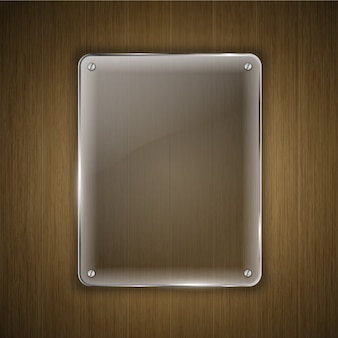 Glass over wood background