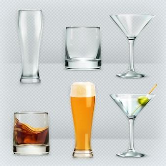 Glasses, alcohol drink vector set