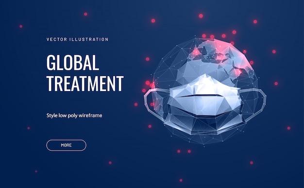 Очки и маски на планете земля. концепция глобального загрязнения и распространения коронавируса covid-19. защита окружающей среды.