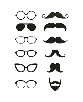 Glasses and mustache hipster style isolated icon
