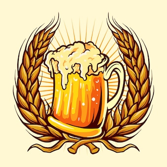 Glasses beer badge wheat illustrations