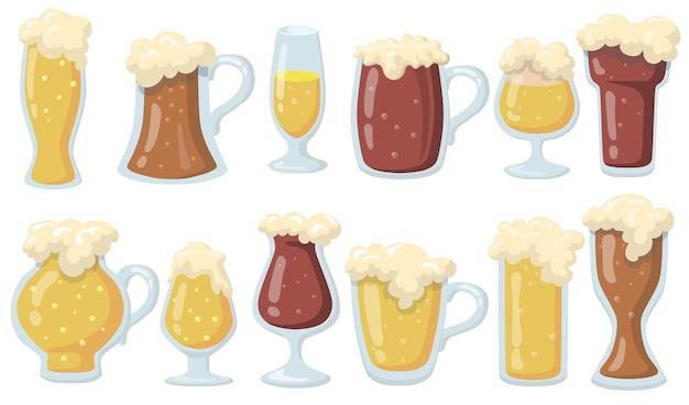 Glasses of beer set