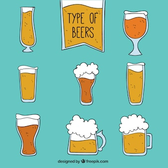 Glasses of beer with foam
