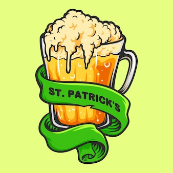 Glasses beer with ribbon st patrick's element illustrations