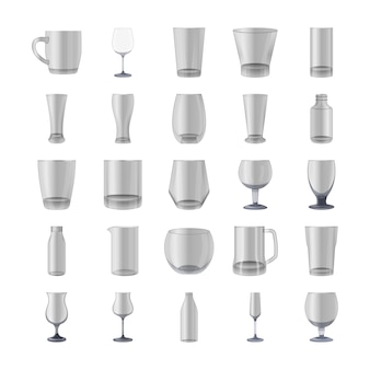 Glasses and bottles icons pack