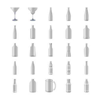 Glasses and bottles icons set