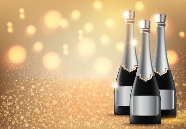 Glasses of champagne on light background with copyspace