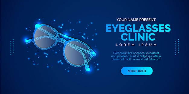 Glasses clinic banner with a blue background