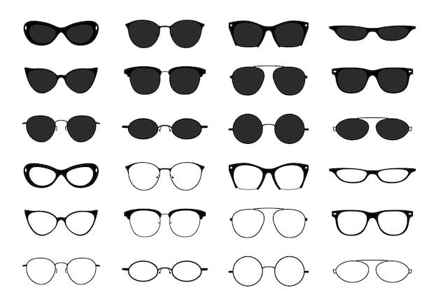 メガネコレクション。オタクの眼鏡とサングラス。黒の眼鏡のシルエット。ベクトルファッション光学眼鏡形状アイコンセット