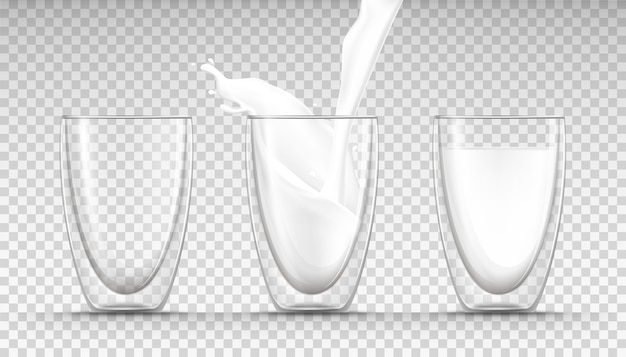 Glasses empty, full and flowing milk and a milk splash in realistic style.