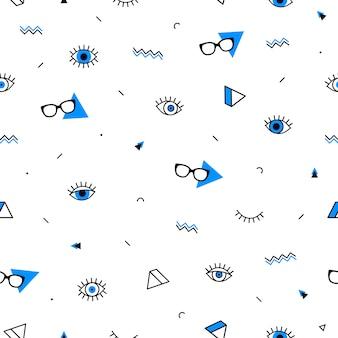 Очки глаза бесшовные модели с геометрическими фигурами в стиле мемфиса.