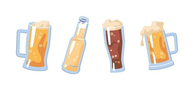 Glasses filled with light or dark beer drink isolated refreshing beverage with frothy bubbly pale
