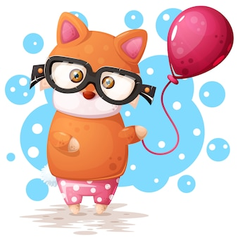 Glasses fox with pink balloon