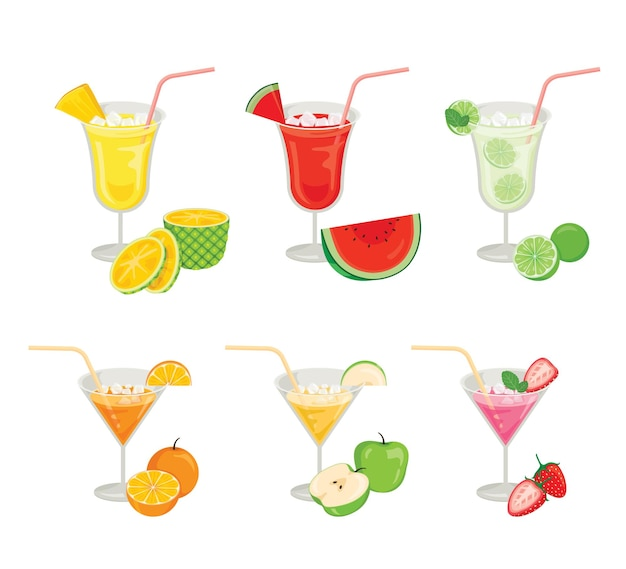 Glasses of fruits and cocktails
