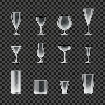 Glasses and goblets transparent icons. glass for cocktail and champagne, illustration of glasses for beer and whiskey
