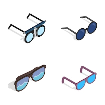 Glasses icon set on white background