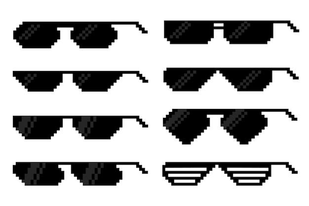 픽셀 아트 스타일의 안경. 비전 액세서리 세트.
