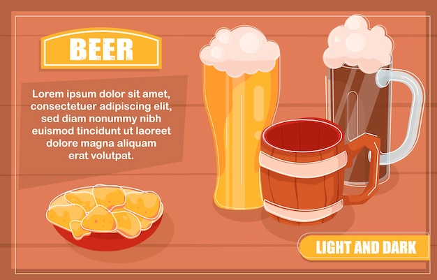 Glasses of light and dark beers and snacks card template
