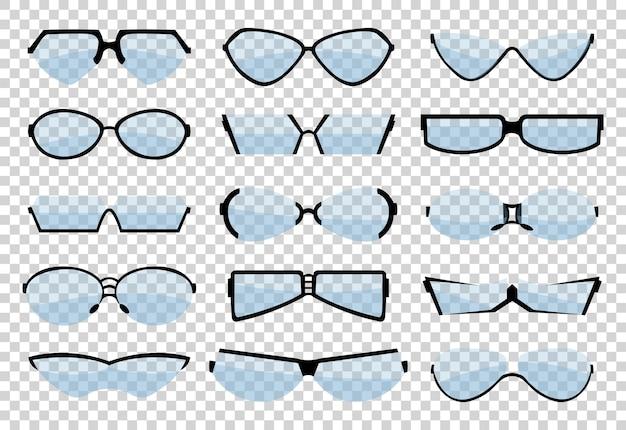 メガネのラインアートシルエット、アイウェア、光学アクセサリー。医療の古典的な接眼レンズセット。