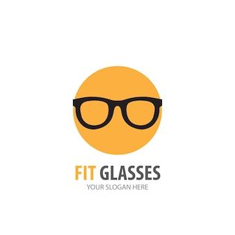 事業会社のメガネのロゴ。シンプルなメガネのロゴタイプのアイデアデザイン。コーポレートアイデンティティの概念。アクセサリーコレクションのクリエイティブグラスアイコン。