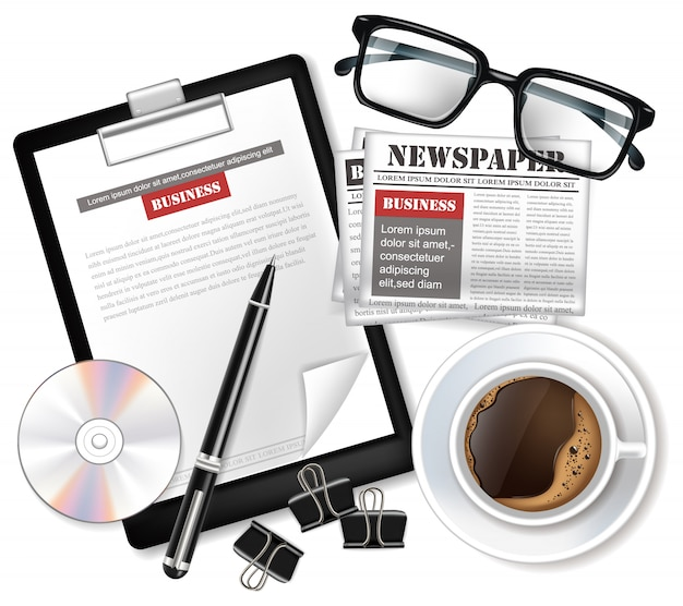 Glasses and newspaper mock up